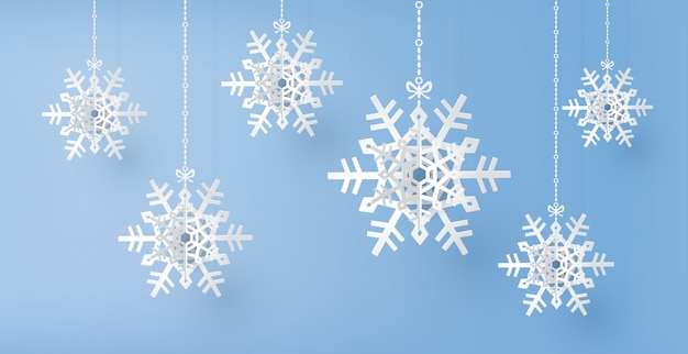 Merry christmas and winter season with paper cut  snow flake,