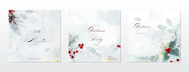 Merry christmas and winter square cards watercolor collection. berry and pine branches on snow falling with hand-painted watercolor. suitable for cards design, new year invitations.