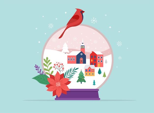 Merry christmas, winter wonderland scenes in a snow globe