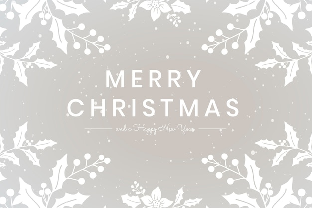 Merry christmas wish gray floral greeting card