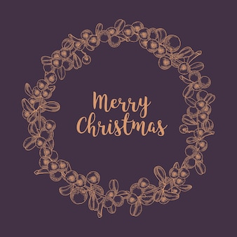 Merry christmas wish inside wreath or circular garland made of lingonberries drawn with contour lines on dark space