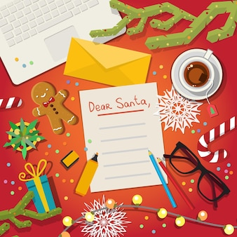 Merry christmas wish list to santa claus flat illustration