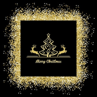 Merry christmas with a golden frame