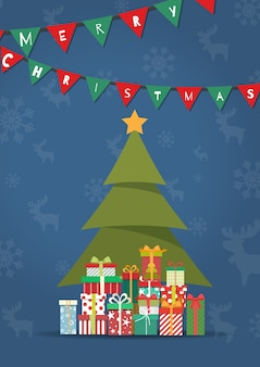 Merry Christmas with a lot of gift boxs under tree.