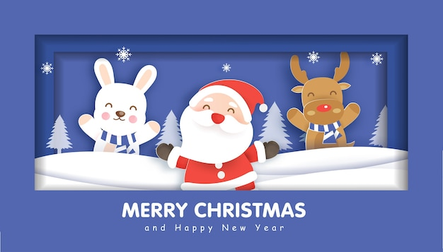 Счастливого рождества с дедом морозом и друзьями на рождественский фон, иллюстрации в стиле вырезки из бумаги и ремесла.