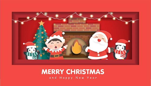 Счастливого рождества с дедом морозом и друзьями на рождественский фон.