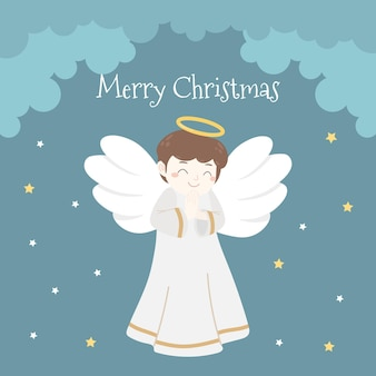 Merry christmas with angel for greeting card social media post