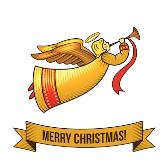 Merry christmas with angel retro illustration