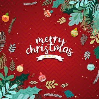 С рождеством христовым с шарами и листьями на красном.