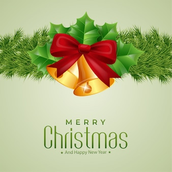 Merry christmas with bells background