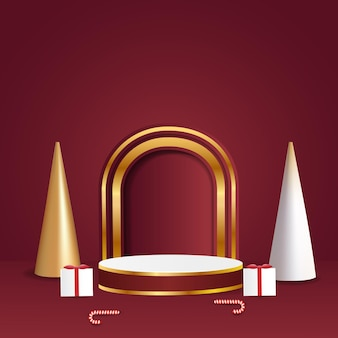 Merry christmas with blank cylindrical display