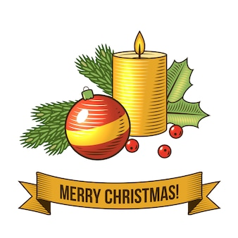 Merry christmas with candle retro illustration