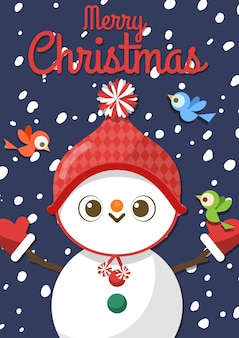 Merry christmas with cartoon snowman and three birds.
