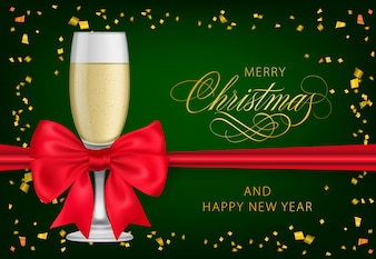 Merry Christmas with champagne glass