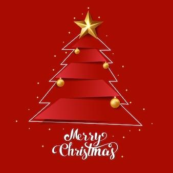 메리 크리스마스 크리스마스 트리와 손으로 그리는 글자
