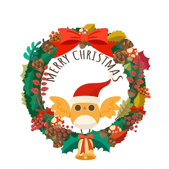 Merry christmas with christmas wreath and santa claus bird.