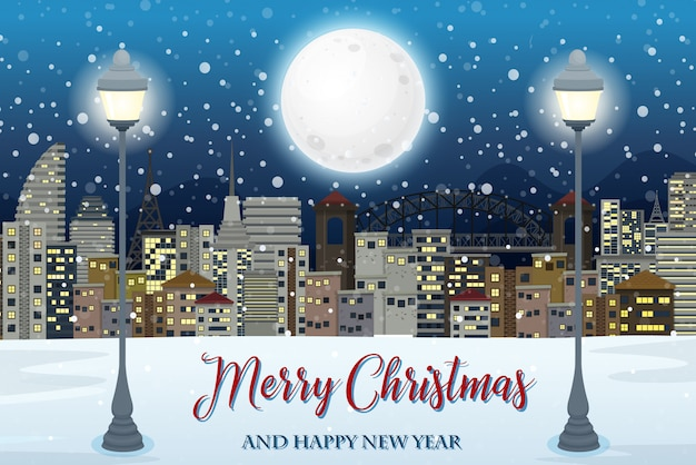 Merry christmas with cityscape