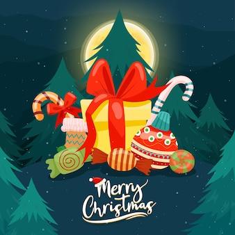クリスマスツリーにカラフルなギフトボックスが飾られたメリークリスマス。