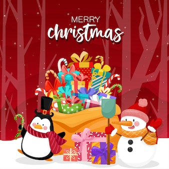 Merry christmas with colorful gift boxes and pine tree
