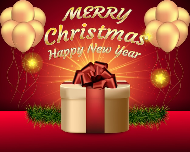 Merry christmas with confetti and gift background.