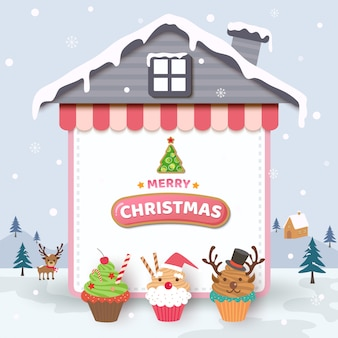 Merry christmas with cupcakes on house frame and snow background.