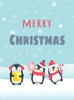 귀여운 동물들과 함께 메리 크리스마스. 크리스마스 선물을 가진 펭귄