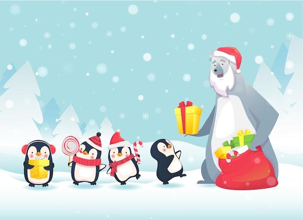귀여운 동물들과 함께 메리 크리스마스. 북극곰이 펭귄에게 크리스마스 선물을줍니다.