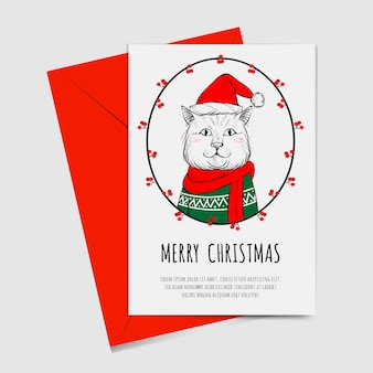 Merry christmas with cute cat hand drawn