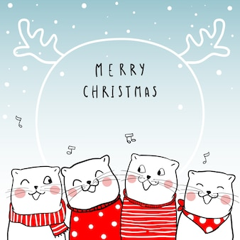 Merry Christmas with cute cat