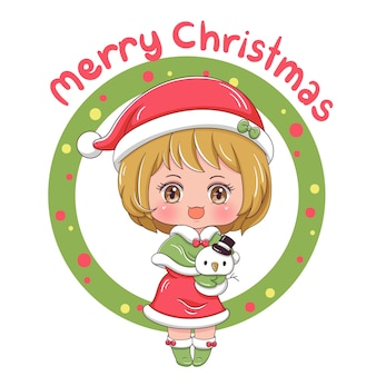 Merry christmas with cute girl