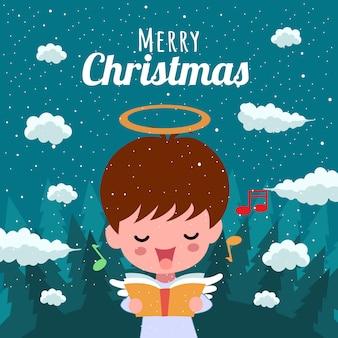 Merry christmas with cute kawaii hand drawn angel singing musical