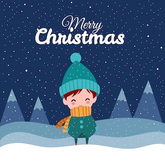 Merry christmas with cute kawaii hand drawn boy wearing winter costume