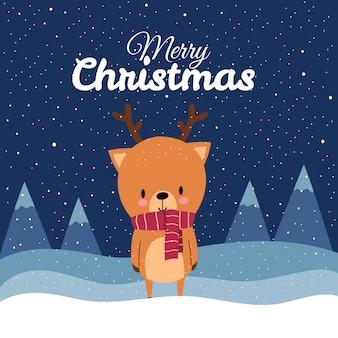 Счастливого рождества с милым оленем kawaii, нарисованным от руки, в красном шарфе