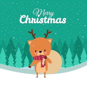 Merry christmas with cute kawaii hand drawn deer with red scarf carrying sack