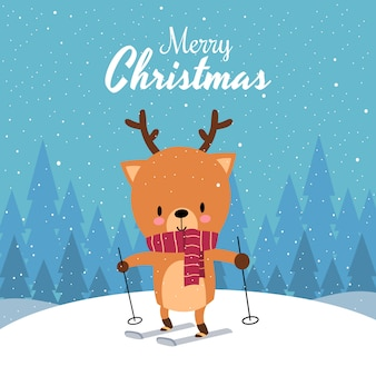 Merry christmas with cute kawaii hand drawn deer with red scarf skiing