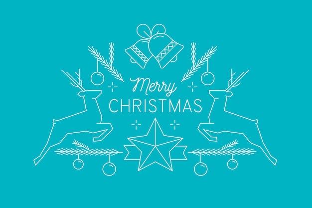 Счастливого рождества с украшениями и оленей