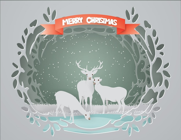Merry christmas with deer family