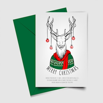 Merry christmas with deer hand drawn