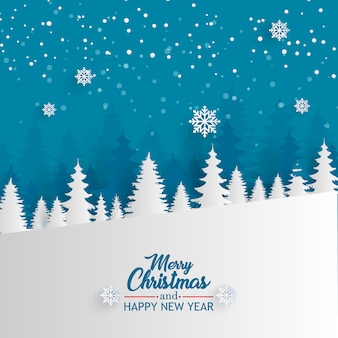 Merry christmas with forest background