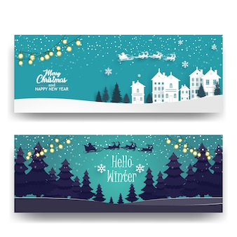 Merry christmas with forest and houses background