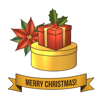 Merry christmas with gift box retro illustration
