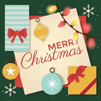 선물 상자와 장식품 메리 크리스마스