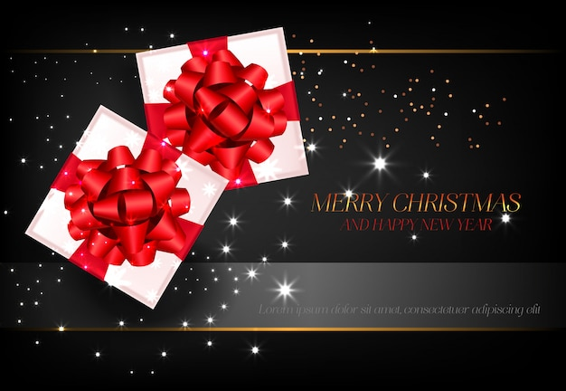 Merry christmas with gift boxes poster design
