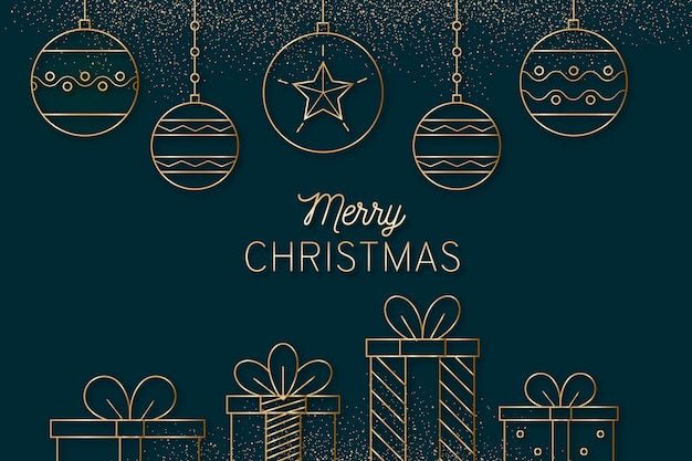 Merry christmas with gifts in outline style