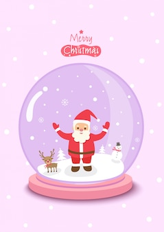 Merry christmas with globe ball decorated with santa calus and snow on pink background.