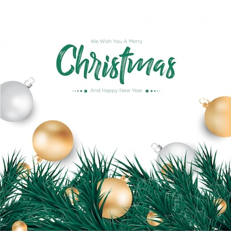 Merry christmas with gold and silver balls background