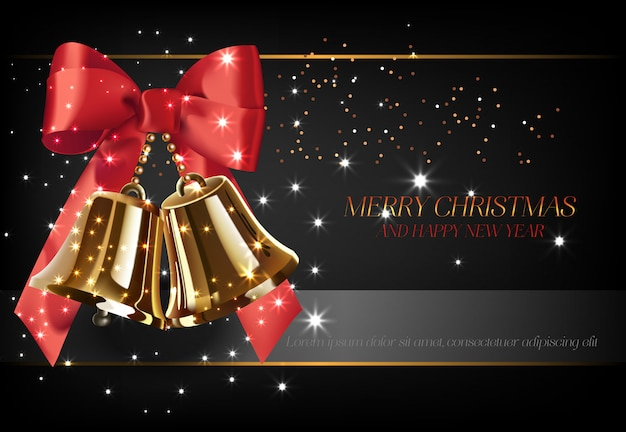 Merry christmas with golden bells poster design