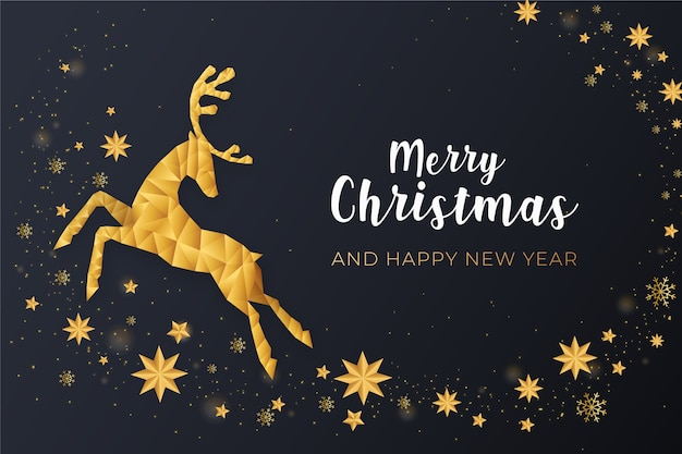 Merry christmas with golden reindeer