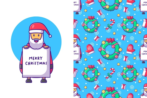 행복 한 산타 클로스 원활한 패턴으로 메리 크리스마스