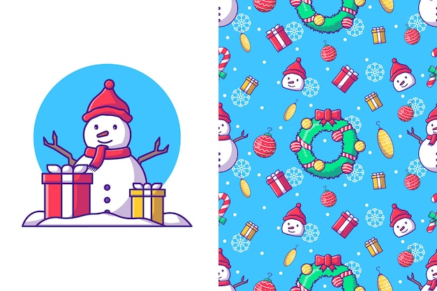 Merry christmas with happy snowman in winter seamless pattern